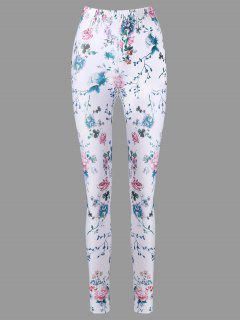 Pantalon Cigarette Floral à Taille Haute - Blanc L