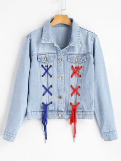 Lace Up Letter Embroidered Denim Jacket - Denim Blue S