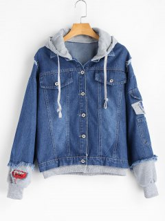 Hooded Patches Frayed Denim Jacket - Denim Blue L