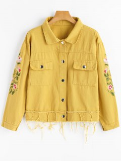 Floral Patched Frayed Hem Denim Jacket - Ginger