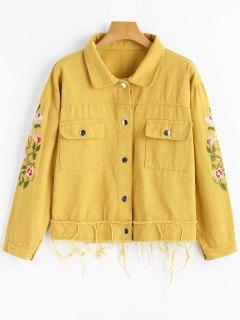Blumige Gefütterte Hemden-Jeansjacke - Ingwer-gelb