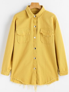 Frayed Hem Denim Jacket With Pockets - Ginger