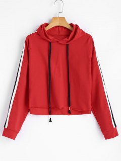 Ribbons Trim Cropped Oversized Hoodie - Red M