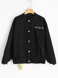 Patches Letter Embroidered Denim Jacket - Black