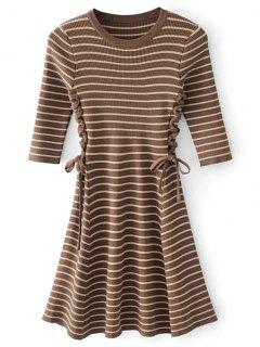 Lace-up Ribbed Sweater Dress - Coffee