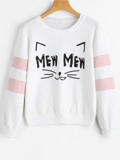 Sweat-shirt à Lettre Et Chat De Dessins Animés  - Blanc