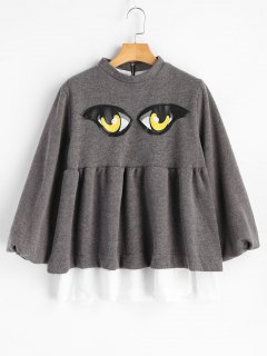 Ruffles Panel Eyes Patches Sweatshirt - Gray 2xl