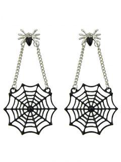 Spider Web Pendant Stud Drop Earrings - Black