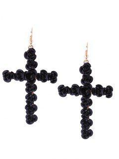 Rose Cross Fish Hook Earrings - Black