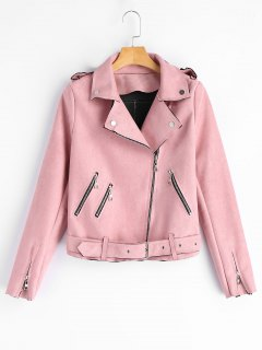 Faux Suede Zip Up Biker Jacket - Pink S