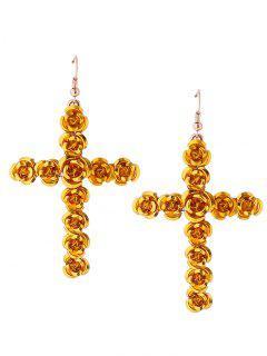 Rose Cross Fish Hook Earrings - Yellow