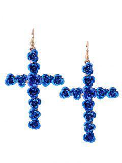 Rose Cross Fish Hook Earrings - Blue