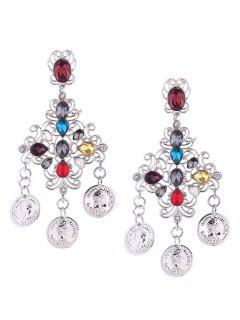 Coin Pendant Rhinestone Stud Dangle Earrings - Silver