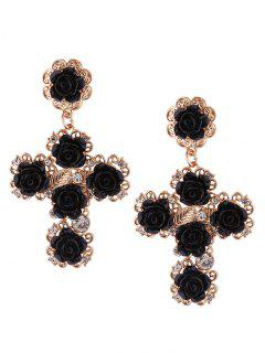 Rose Cross Stud Drop Earrings - Black