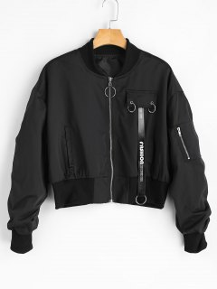 Zip Up Oversized Bomber Jacket - Black S