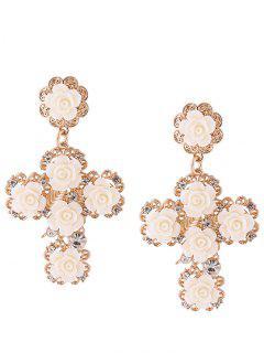 Rose Cross Stud Drop Earrings - White