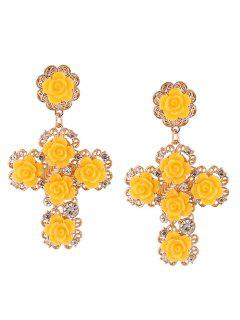 Rose Cross Stud Drop Earrings - Yellow