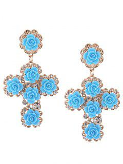 Rose Cross Stud Drop Earrings - Blue