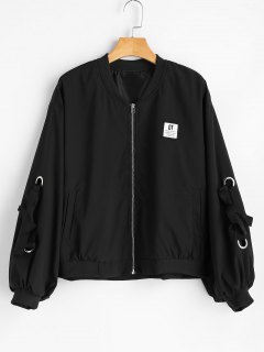 Zip Up Bow Tied Bomber Jacket - Black S