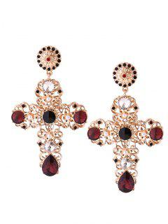 Rhinestone Cross Stud Drop Earrings - Golden