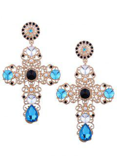 Rhinestone Cross Stud Drop Earrings - Blue
