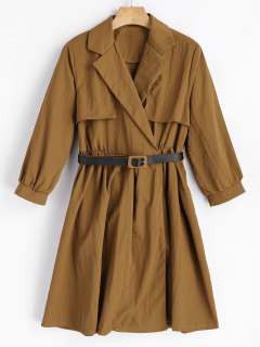 Belted Snap Button Skirted Coat - Light Coffee M