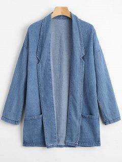 Open Front Denim Coat With Pockets - Denim Blue