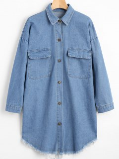 Oversized Pockets Frayed Hem Denim Coat - Denim Blue