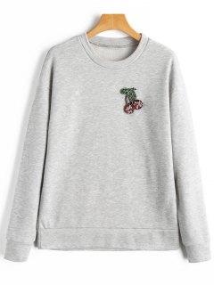 Sweatshirt Mit Perlen Und Kirsche - Hellgrau S