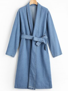 Belted Denim Coat With Side Pockets - Blue