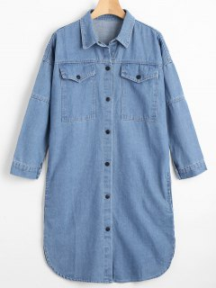 Manteau Denim Long à Bouton-Pression Avec Poches - Bleu Clair