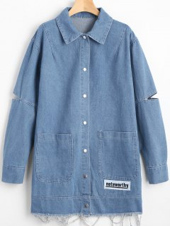 Cut Out Patchwork Frayed Hem Denim Coat - Denim Blue