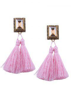 Alloy Engraving Rhinestone Tassel Earrings - Pink