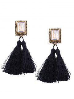 Alloy Engraving Rhinestone Tassel Earrings - Black