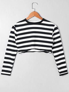 Long Sleeve Asymmetric Striped Crop Top - White And Black M