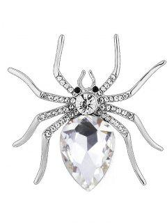 Rhinestone Spider Shape Alloy Brooch - White