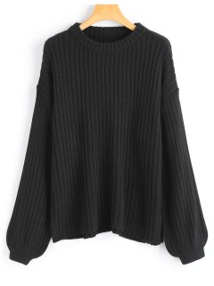 Lantern Sleeve Oversized Pullover Sweater - Black