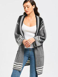 Stripes Panel Side Slit Abierto Front Cardigan - Gris