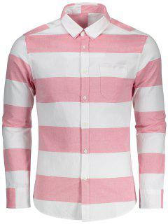 Button Down Striped Shirt - Red And White 2xl