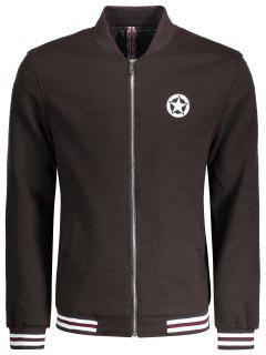 Textured Zipper Baseball Jacket - Coffee Xl