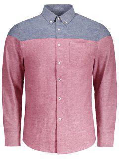 Knopf-unten Taschen-Farben-Block-Hemd - Rot L