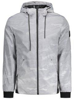 Camo Windbreaker Hooded Jacket - Light Gray Xl