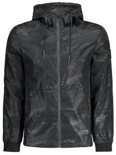 Hooded Camouflage Windbreaker Jacket - Black Xl