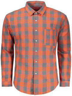 Checked Button Up Shirt - Grey And Orange M