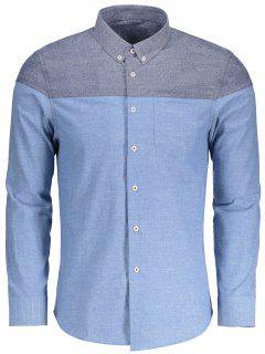 Pocket Button Down Color Block Shirt - Light Blue Xl