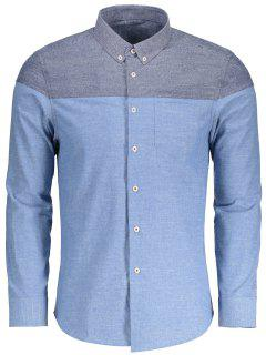 Pocket Button Down Color Block Shirt - Light Blue L