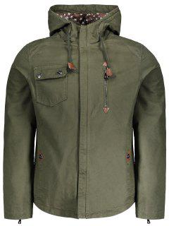 Zippered Cuffs Hooded Jacket - Army Green Xl