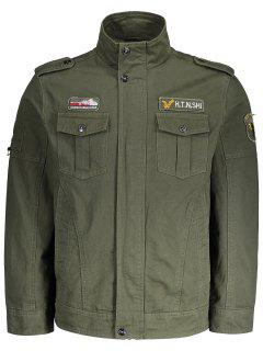 Embroidered Patch Mens Jacket - Army Green Xl
