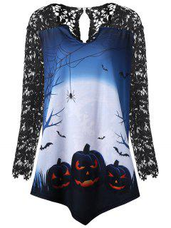 T-shirt De Tunique D'insertion En Dentelle De Taille Halloween Plus Size - Noir 5xl