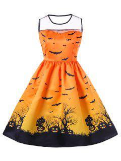 Halloween Mesh Insert Plus Size A Line Dress - Orange 2xl
